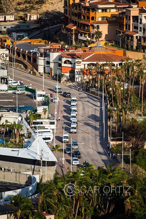President Enrique Peña Nieto's caravan surveying the progress in Cabo San Lucas Mexico on September 25, 2014 - Photo courtesy of Oscar Oritiz, Cabo Expeditions
