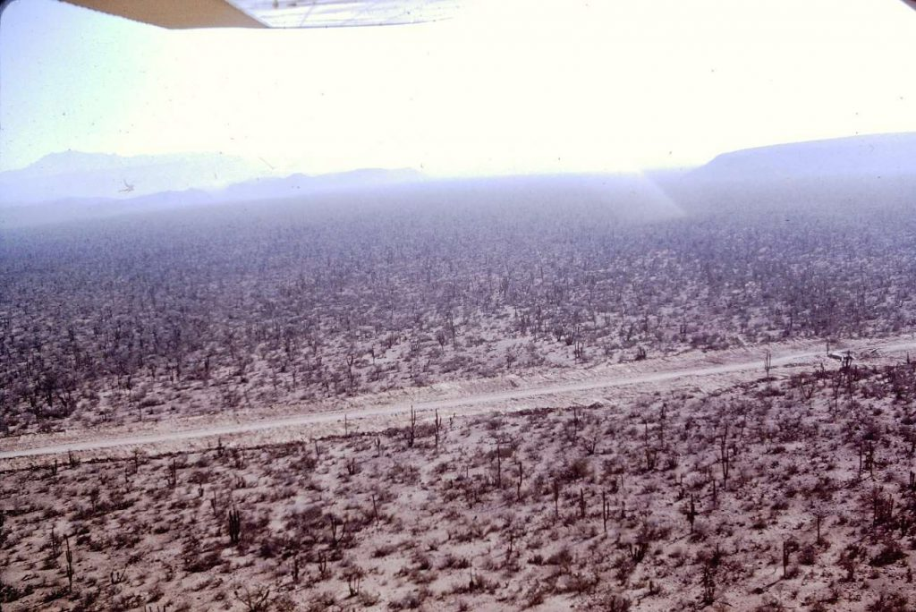 Historic photo of the new transpeninsular highway under construction in Baja California during the 1970's Mexico