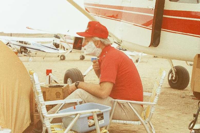 Keith shaving in camp - Baja California 1972