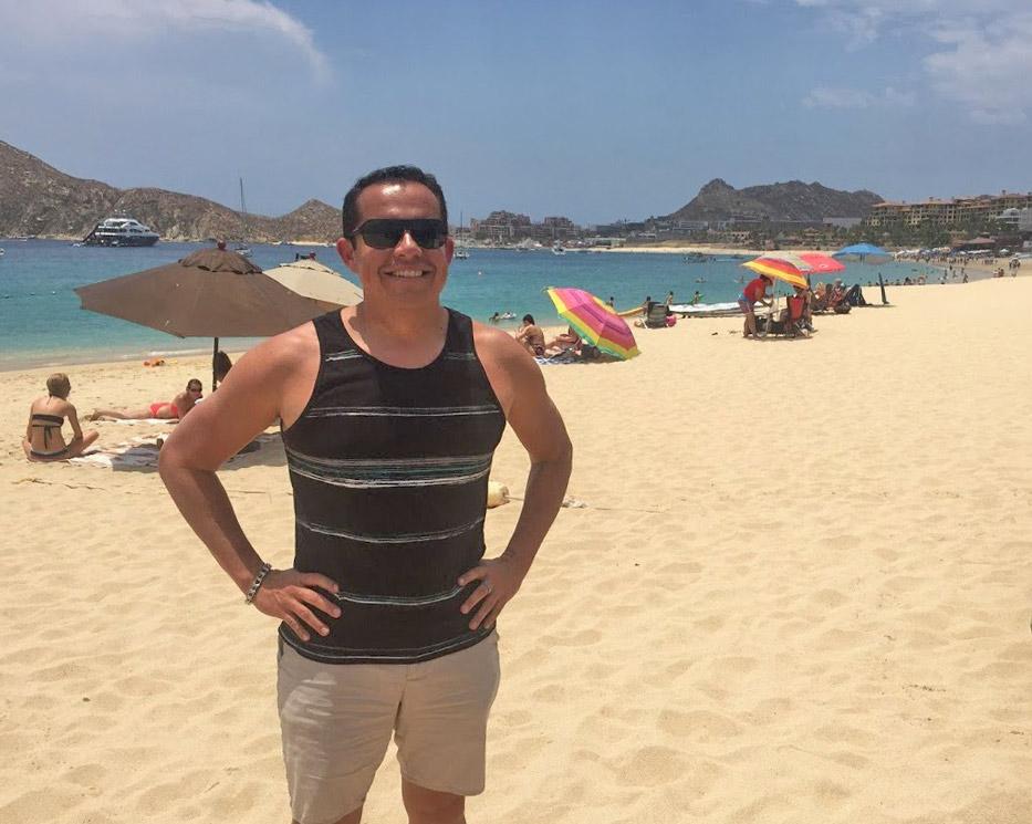 View of Medano Beach in Cabo San Lucas Mexico