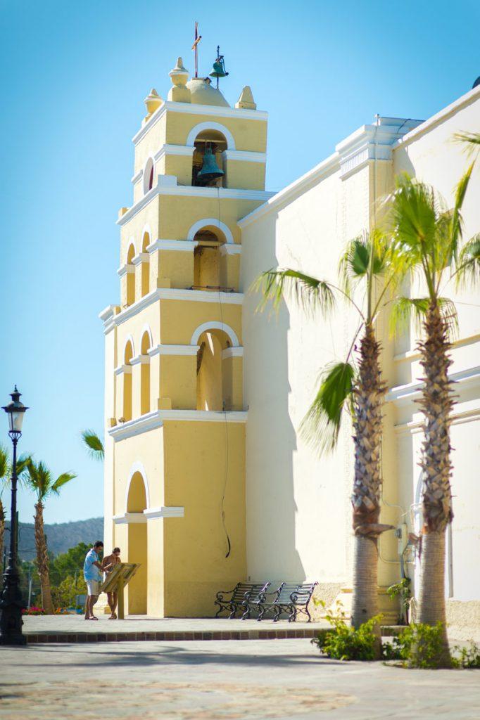 The historic mission church in Todos Santos, Baja California Sur, Mexico