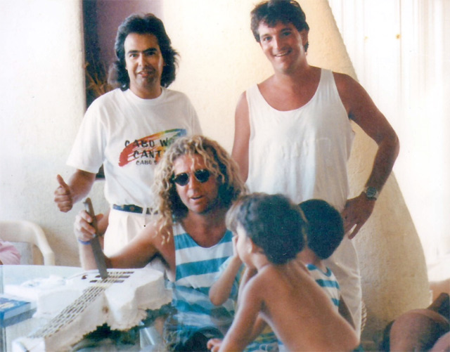 Sammy Hagar, Jorge Viana and Marco Monroy - co-owners in 1988 before there was a Cabo Babo or Birthday Bash. at Cabo Wabo Cantina