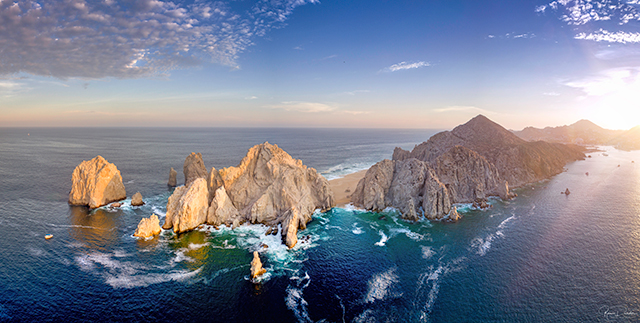 Aerial view of Lands End in in Cabo San Lucas Mexico